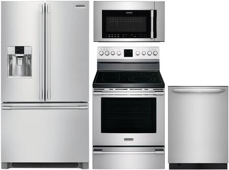 4 Piece Kitchen Appliances Package with FPBC2278UF 36″ French Door Refrigerator  FPEF3077QF 30″ Electric Range  FPBM307NTF 30″ Over the Range