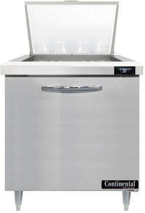 Continental Refrigerator Designer Line D32N12M Prep Refrigerator Stainless Steel, D32N12M Mighty Top Sandwich Unit Refrigerator
