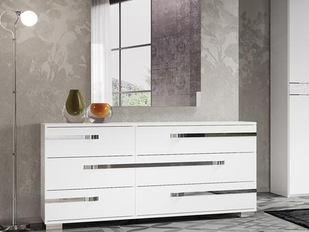 Wave Collection CB-WV01DR 68″ Dresser with 6 Soft Closing Drawers  Stainless Steel Accents  Laminated Medium-Density Fiberboard (MDF) and High Gloss