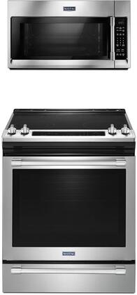 """2 Piece Kitchen Appliances Package with MES8800FZ 30"""" Electric Range and MMV4206FZ 30"""" Over the Range Microwave in Stainless"""