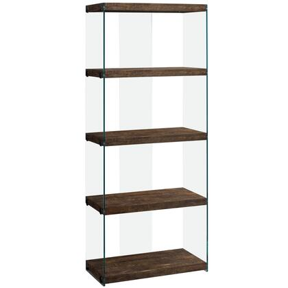 333538 124″ Bookcase with 4 Fixed Clear Tempered Glass Shelves  Clear Glass Side Panels  Laminated and Particle Board Construction in