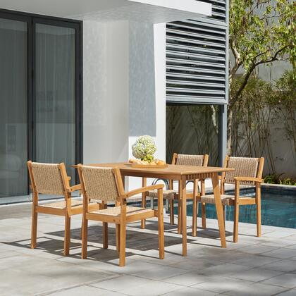 V1950SET1 Chesapeake Outdoor Natural 5-Piece Wood Dining Set with Table and 4x Arm Chairs in Brush Finishing/ Light