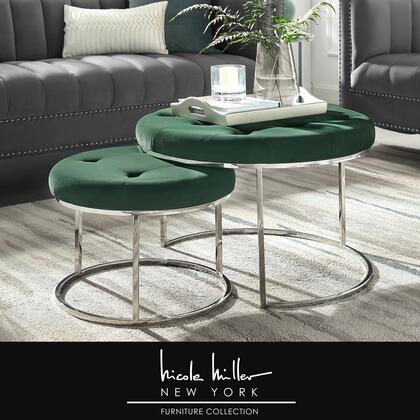 Aaden Collection NON106-02GN-AC Ottoman with Glam Style  Stainless Steel Polished Base and Velvet Upholstery in Green and Chrome