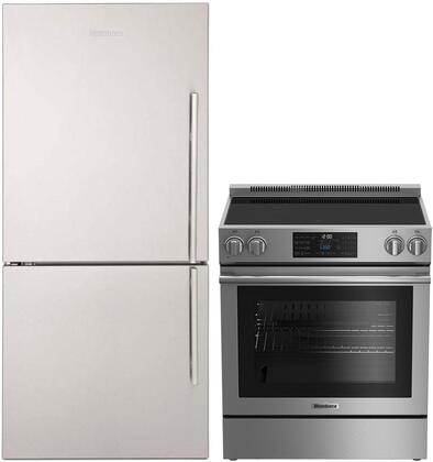 """2 Piece Kitchen Appliances Package With BERU30420SS 30"""" Electric Freestanding Range and BRFB1822SSLN 30"""" Bottom freezer Refrigerator In Stainless"""
