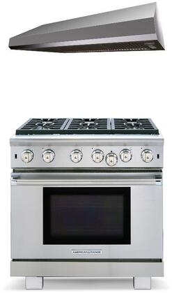 2 Piece Kitchen Appliances Package with ARROB636L 36″ Liquid Propane Range and MAES3610SS600B 36″ Under Cabinet Convertible Hood in Stainless