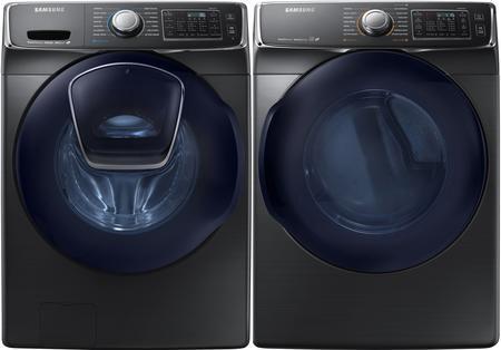 Samsung  840433 Washer & Dryer Set Black Stainless Steel, 86767