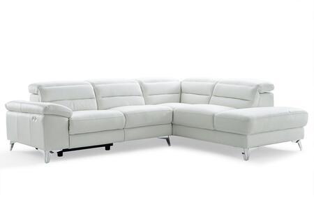 Whiteline Johnson SR1349LWHT Sectional Sofa White, SR1349L-WHT side