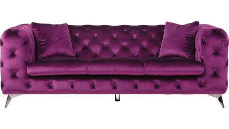 Atronia Collection 54905 Sofa  Button Tufted  Metal Tapered Leg  Tight Back & Loose Seat Cushion  in Purple