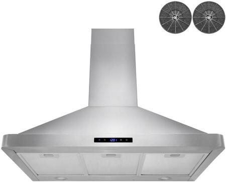 RH0441 36″ Wall Mounted Range Hood with 343 CFM  Touch Panel Control  Aluminum Grease Filters  and LED Lights in Stainless