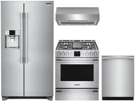 4 Piece Kitchen Appliances Package with FPSC2278UF 36″ Side by Side Refrigerator  FPGH3077RF 30″ Gas Range  FHWC3050RS 30″ Under Cabinet Ducted Hood