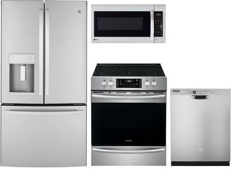 "4 Piece Ktichen Appliances Package with GYE22GYNFS 36"" French Door Refrigerator FGEH3047VF 30"" Slide-in Electric Range LMV2031ST 30"" Over the Range"
