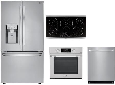 4 Piece Kitchen Appliances Package with LRFXC2406S 36″ French Door Refrigerator  LSWS307ST 30″ Electric Single Wall Oven  LSCE365ST 36″ Electric