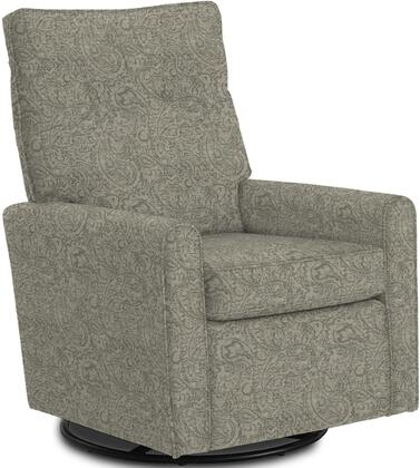 Phylicia Collection 4007-21993 Recliner with 360-Degrees Swivel Glider Metal Base  Removable Back  High Backrest  Zipper Access and Fabric Upholstery