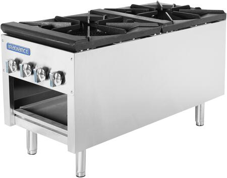 TASP-18-D 18″ Heavy Duty Stock Pot Stove with Double Cast-Iron 3 Ring Burners  158 000 BTU Output  Removable Grease Pan and Cast-Iron Grates in