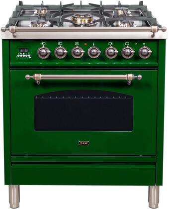 Ilve Nostalgie UPN76DMPVSYLP Freestanding Dual Fuel Range Green, 1