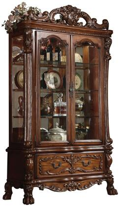 Dresden Collection 12158 51 Curio Cabinet with 2 Glass Doors  3 Glass Shelves  1 Drawer  Carved Apron and Medium-Density Fiberboard (MDF) in Cherry