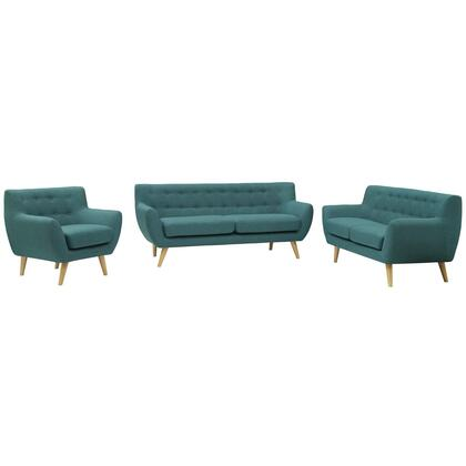 Remark Collection EEI-1782-TEA-SET 3 PC Living Room Set with Flared Armrest  Non-Marking Foot Caps  Mid-Century Modern Style  Natural Tapered