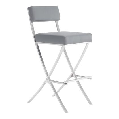 Bethany Collection LCBHBABSGR30 30″ Bar Height Stool with Square Foam Padded Seat  Footrest Supports  Contemporary Style  Brushed Stainless Steel