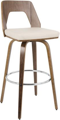 LumiSource Trilogy BSTRILOWL Bar Stool White, BSTRILOWL Side