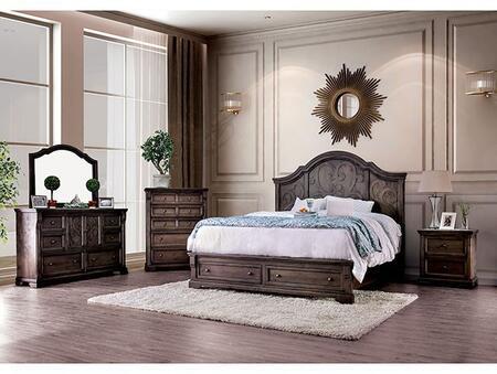 Furniture of America Amadora CM7533CKDMNC5PC Bedroom Set Brown, Main Image