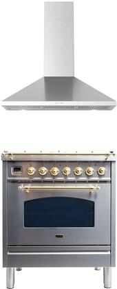 2 Piece Kitchen Appliances Package with UPN76DMPILP 30″ Dual Fuel Liquid Propane Range and BRAVO30 30″ Wall Mount Convertible Hood in Stainless