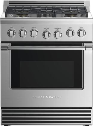 Fisher Paykel Professional RGV2305LN Freestanding Gas Range Stainless Steel, Front view
