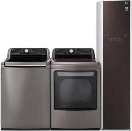 Top Load Smart WT7800CV 27″ Washer with Front Load DLEX7800VE 27″ Electric Dryer and S3RFBN 18″ Styler Laundry Pair in Graphite