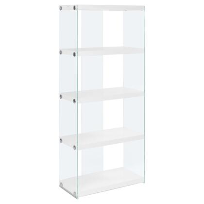 333149 24″ Bookcase with 4 Fixed Clear Tempered Glass Shelves  Clear Glass Side Panels  Laminated and Particle Board Construction in White