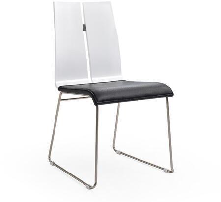 Whiteline Lauren DC1191WHTBLK Dining Room Chair Black, DC1191-WHT-BLK Side