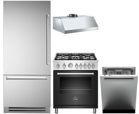 4 Piece Kitchen Appliances Package with REF36PIXL 36″ Bottom Freezer Refrigerator  MAST305GASXE 30″ Gas Range  KG30CONX 30″ Wall Mount Convertible