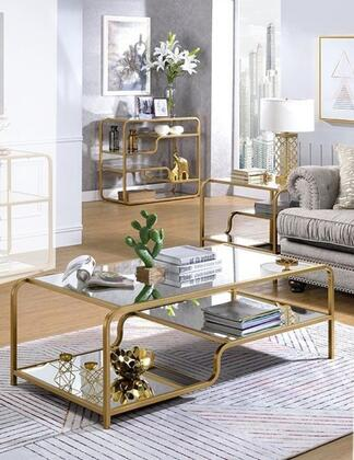 Acme Furniture Astrid 810903SET Living Room Table Set Gold, Living Room Table Set