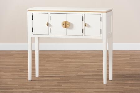 TOK3-CONSOLE Aiko Classic and Traditional Japanese-Inspired Off-White Finished 4-Door Wood Console