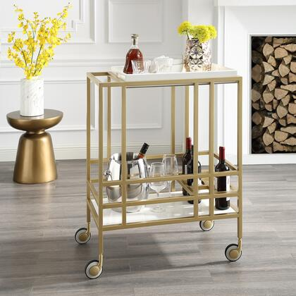 Biony Collection BC123-09WE-AC Bar Cart with Removable Serving Tray  Wine Bottle and Stemware Storage and Casters in Gold and White