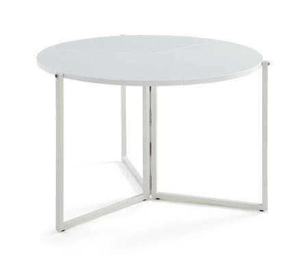 8389-DT-FLD-WHT Round Foldaway Dining Table with Metal Base in Gloss