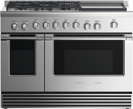 Fisher Paykel Professional RDV2485GDLN Freestanding Dual Fuel Range Stainless Steel, Front view
