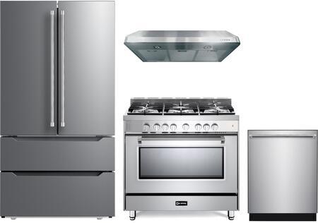 4 Piece Kitchen Appliances Package with VERF36CDSS 36″ French Door Refrigerator  VPFSGG365SS 36″ Gas Range  VEHOOD3610 36″ Under Cabinet Range Hood