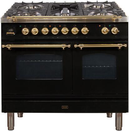 Ilve Nostalgie UPDN100FDMPN Freestanding Dual Fuel Range Black, UPDN100FDMPN Dual Fuel Range