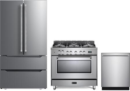 3 Piece Kitchen Appliances Package with VERF36CDSS 36″ French Door Refrigerator  VPFSGE365SS 36″ Dual Fuel Range  and VEDW24TSS 24″ Built In