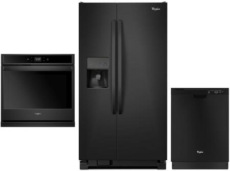 3 Piece Kitchen Appliances Package with WRS335FDDB 36″ Side by Side Refrigerator  WOS51EC0HB 30″ Electric Single Wall Oven and WDF540PADB 24″ Built