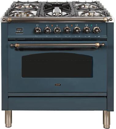 Ilve Nostalgie UPN90FDMPGUY Freestanding Dual Fuel Range , Blue Grey Dual Fuel RangeRAL Color