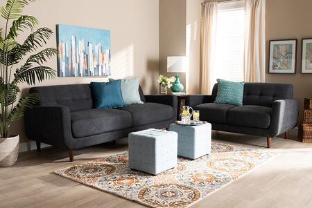 J1453-DARKGREY-2PCSET Allister Mid-Century Modern Dark Grey Fabric Upholstered 2-Piece Living Room