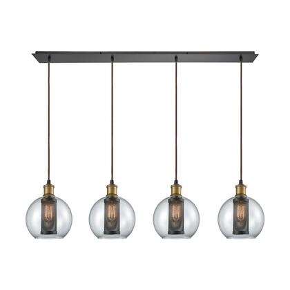 14530/4LP Bremington 4 Light Linear Pan Pendant in Tarnished Brass/Oil Rubbed Bronze with Clear Glass and