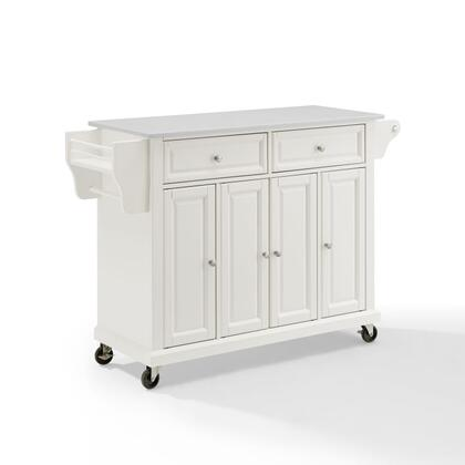 Full Size Kitchen Collection KF30005EWH Full Size Granite Top Kitchen Cart in White