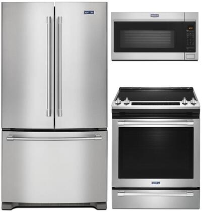 """3 Piece Kitchen Appliances Package with MFF2558FEZ 36"""" French Door Refrigerator MES8800FZ 30"""" Electric Range and MMV4207JZ 30"""" Over the Range"""