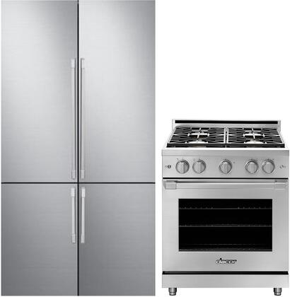 2 Piece Kitchen Appliances Package with DRF427500AP 42″ French Door Refrigerator and HGPR30SNGH 30″ Gas Range in Stainless