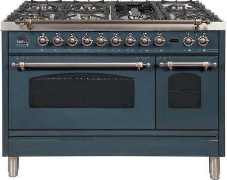Ilve Nostalgie UPN120FDMPGUYLP Freestanding Dual Fuel Range Blue Grey, Blue Grey Dual Fuel Range