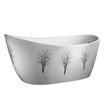BT302 68″ Freestanding Tub with Hand Painted Tree Design  Fiberglass and Acrylic Construction in