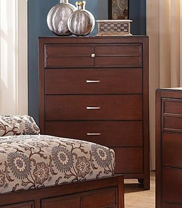 Kensington BH060-070 5-Drawer Chest with European Side Mounted Drawer Glides  Poplar  Birch Solids and Veneers Construction in Burnished Cherry