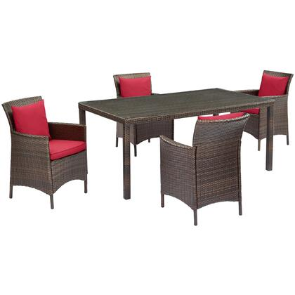Conduit Collection EEI-3892-BRN-RED-SET  5 Piece Outdoor Patio Wicker Rattan Set with Powder-Coated Aluminum Frame  Synthetic PE Rattan Weave and