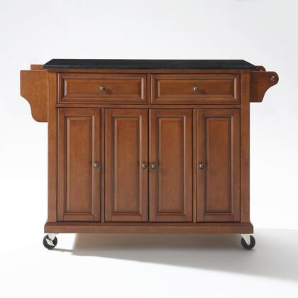 Full Size Kitchen Collection KF30004ECH Full Size Granite Top Kitchen Cart in Cherry